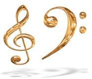os símbolos chaves musicais do teste padrão do ouro 3D isolaram-se Imagem de Stock
