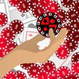 Os símbolos da POSSE das MÃOS são vermelhos e uma microplaqueta ilustração stock