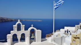 Os símbolos de Santorini, Grécia fotografia de stock royalty free