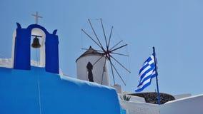 Os símbolos de Santorini, Grécia foto de stock