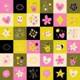 Os símbolos de sorriso pequenos dos caráteres dos corações das flores projetam elementos ilustração royalty free