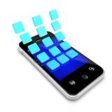 os símbolos do ícone 3d descascam fora o smartphone Imagens de Stock