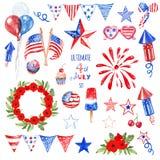 Os símbolos e os elementos do quarto de julho ajustaram-se nas cores azuis, vermelhas e brancas da bandeira dos EUA, isoladas Dec foto de stock
