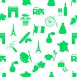 Os símbolos e os ícones do tema do país de França esverdeiam o teste padrão sem emenda eps10 Imagens de Stock