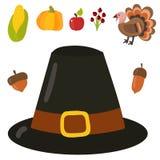 Os símbolos felizes do dia da ação de graças projetam a ilustração do vetor da estação do outono da colheita dos alimentos fresco Fotos de Stock Royalty Free