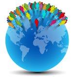 Os símbolos humanos coloridos colocaram aleatório no mundo azul Imagens de Stock Royalty Free