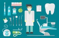 Os símbolos lisos do dentista dos cuidados médicos pesquisam o conceito de sistema de saúde das ferramentas e a higiene médicos d Fotografia de Stock Royalty Free