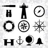 Os símbolos monocromáticos marinhos em um fundo branco vector a ilustração Foto de Stock
