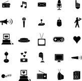 Os símbolos ou os ícones diversos ajustaram-se Imagens de Stock Royalty Free