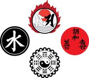 Os símbolos religiosos e mágicos asiáticos Imagens de Stock Royalty Free