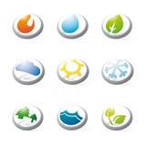 Os símbolos tridimensionais da natureza, da energia e do ambiente recolhem Imagem de Stock