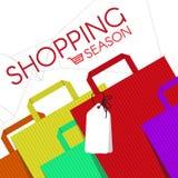 Os sacos de compras formam e cart o fundo do sumário do vetor do ícone Fotos de Stock Royalty Free