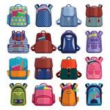 Os sacos de escola das crianças dos desenhos animados backpack de volta a ilustração ajustada do vetor da mochila da escola no br ilustração stock