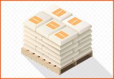 Os sacos do cimento empilharam a vista isométrica Imagens de Stock