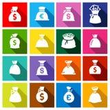 Os sacos do dinheiro, ajustaram botões coloridos Foto de Stock Royalty Free