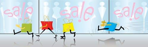 Os sacos dos desenhos animados estão comprando. Venda. (vetor, CMYK) Fotos de Stock