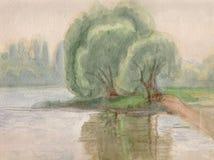 Os salgueiros aproximam a água ilustração royalty free