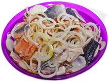 Os salmões dos peixes conservaram a cebola salgada imagem de stock royalty free
