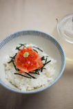 Os salmões e o ikura (caviar vermelho) Ochazuke Fotografia de Stock Royalty Free