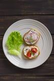Os sanduíches com rabanete, tomates de cereja e queijo em uma placa iluminam-se fotografia de stock