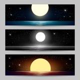 Os Seascapes da noite ajustados ilustração royalty free