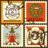 Os selos postais de ano novo ajustados Imagem de Stock Royalty Free