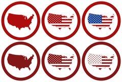 Os selos postais redondos diferentes com EUA traçam ilustração do vetor