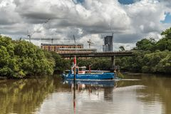 Os serviços ambientais australianos limpam o rio perto de Parramatta Fotos de Stock
