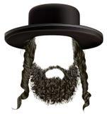 Os sidelocks do cabelo preto com barba mascaram o hassid do judeu da peruca no chapéu Imagem de Stock
