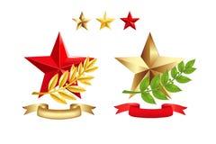 Os sinais ajustaram-se (estrelas, filiais do louro. Vetor Foto de Stock Royalty Free