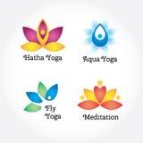 Os sinais da ioga ajustaram-se, hatha, aqua, mosca, meditação Flores e elementos do corpo Imagens de Stock