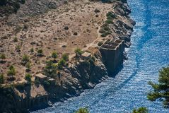Os sinais da pedra calcária quarry a mineração dos anos 50, na baía Iera fotografia de stock royalty free