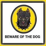 Os sinais de aviso têm cuidado com o fundo do branco do desenho da ilustração do desenho da ilustração do cão e da ilustração do  ilustração stock