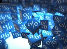 Os sinais de porcentagem em cubos - rendição 3d Fotos de Stock Royalty Free