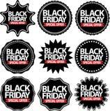 Os sinais pretos do preto da oferta especial de sexta-feira ajustam-se, vector Imagens de Stock