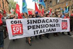 Os sindicatos italianos demonstram em Roma Imagens de Stock Royalty Free