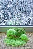 Os skeins verdes estão na soleira Fotografia de Stock Royalty Free