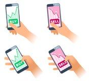 Os smartphones com cartas dos preços de títulos nas telas fotos de stock