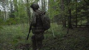 Os soldados atravessam as madeiras Forças armadas com os braços enviados aos arvoredos do verde jogo do airsoft video estoque