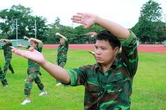 Os soldados vietnamianos estão praticando a arte marcial para lutar no campo de batalha fotos de stock
