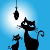 Os sonhos do gato dos peixes, gato querem comer peixes, animal de estimação, ilustração do vetor Foto de Stock Royalty Free