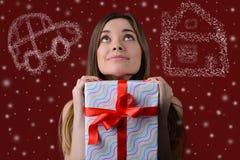 Os sonhos vêm verdadeiro no Natal Conceito do milagre de espera sobre imagens de stock