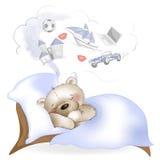 Os sonos e os sonhos do urso sobre os presentes Imagem de Stock Royalty Free