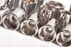 Os soquetes da chave do metal fecham-se acima Fotografia de Stock