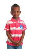 Os sorrisos pretos afro-americanos da criança isolaram 1 Imagem de Stock