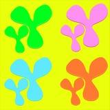 Os splats do vetor espirram e gotas da pintura brilhantemente colorida nos gotejamentos das formas isolados ilustração do vetor