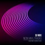 Os sulcos do vinil como o néon alinham o fundo Com estilo da onda do vapor 80s para a tampa da mistura do DJ ilustração stock