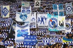 Os suportes da equipe de Kyiv do dínamo de FC mostram sua sustentação imagens de stock