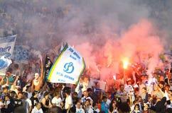 Os suportes da equipe de Kyiv do dínamo de FC mostram sua sustentação Fotografia de Stock Royalty Free