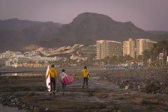 Os surfistas surfam nas ondas, por do sol brilhante na costa, Tenerife, Imagens de Stock